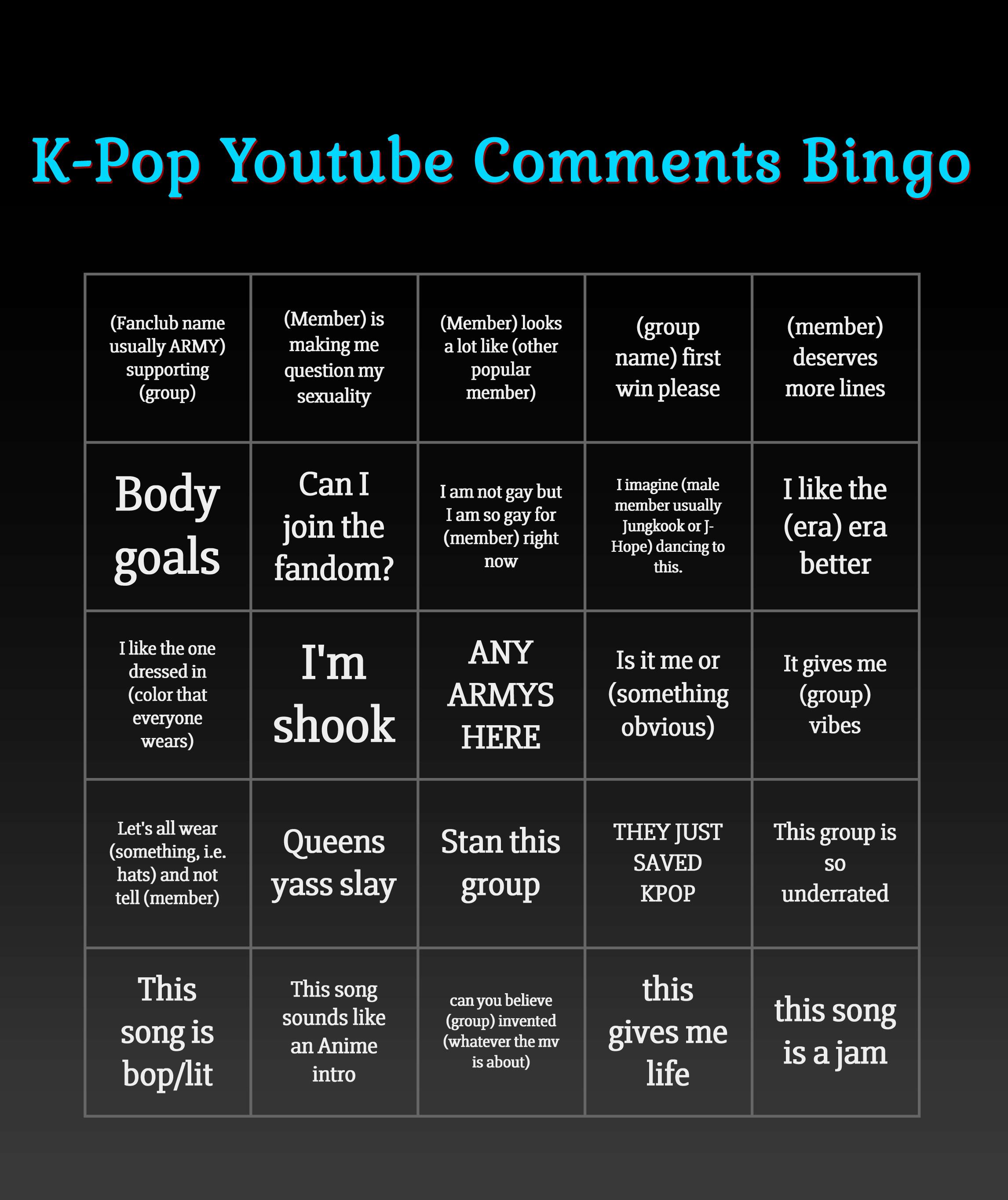 KPOP Youtube Comments Bingo : kpop