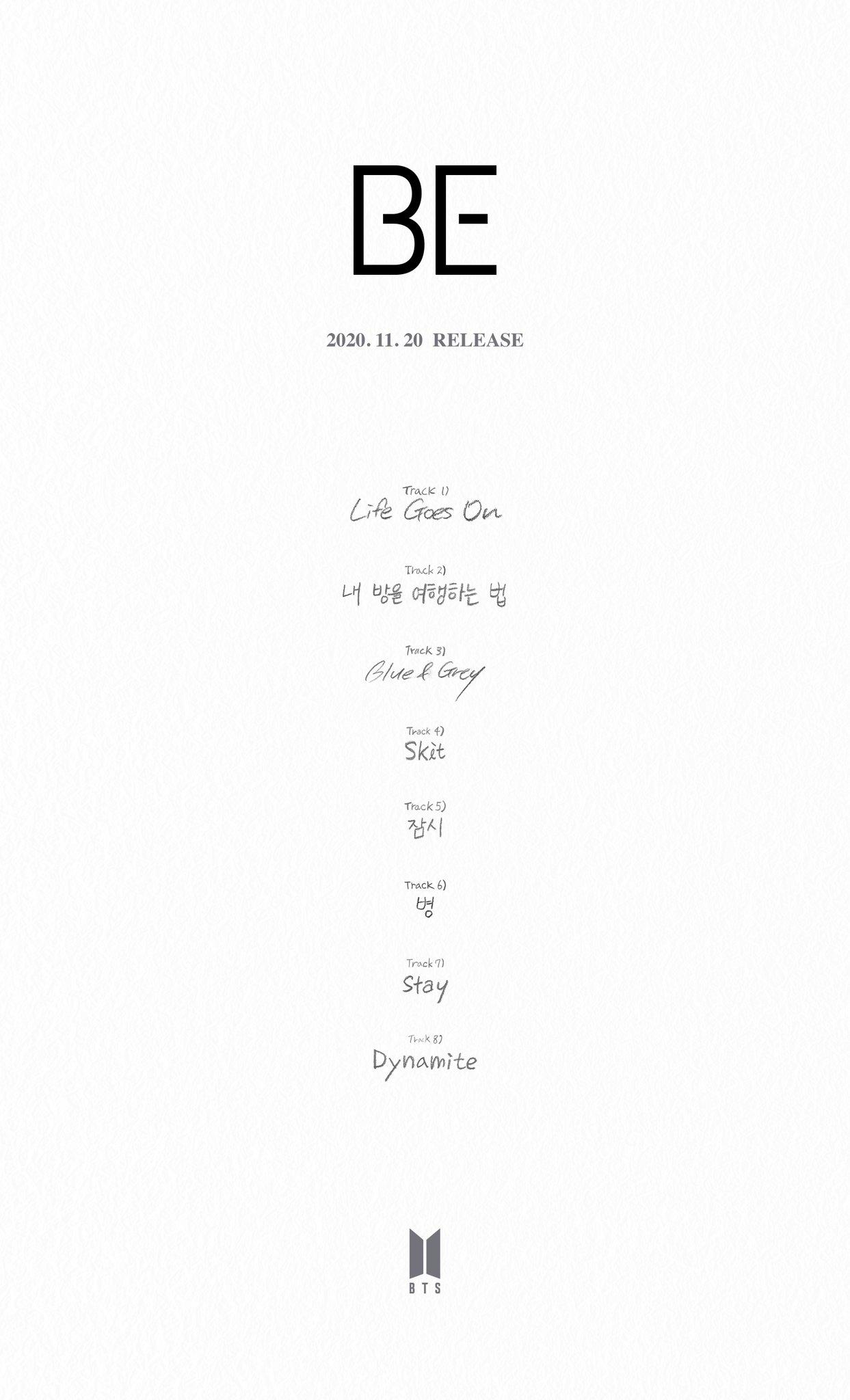 BTS Be Tracklist